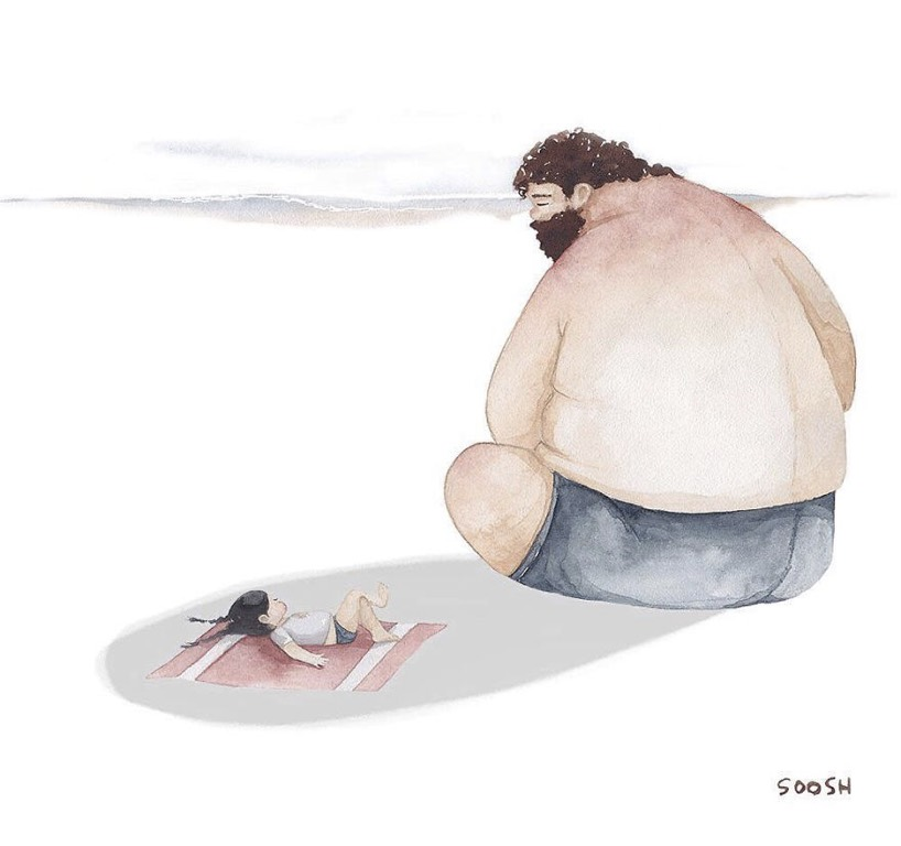 This Moms 7 Beautiful Drawings Capture Love Between Dad And His