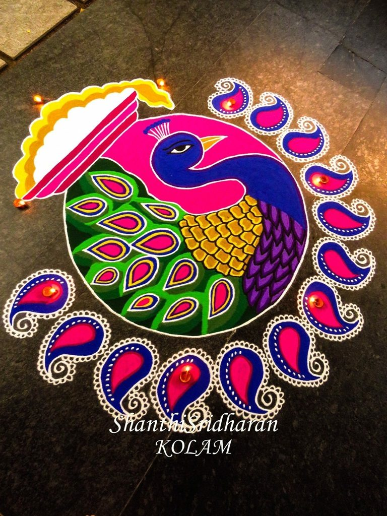 15 Beautiful & Colorful Peacock Kolam & Rangoli Designs ...